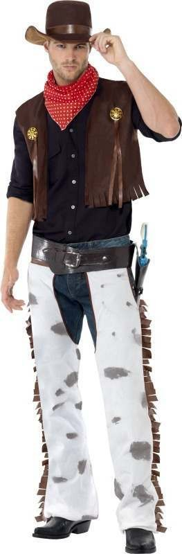Mens Cowboy Costume Cowboys/Indians Outfit (Brown)