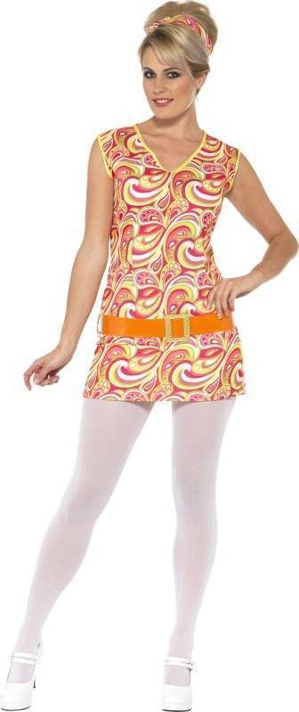 Ladies Hippy Lady Costume Hippy Outfit (Multicolour)