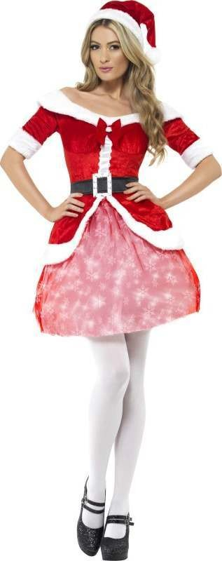 Ladies Light Up Santa Costume Christmas Outfit (Red)
