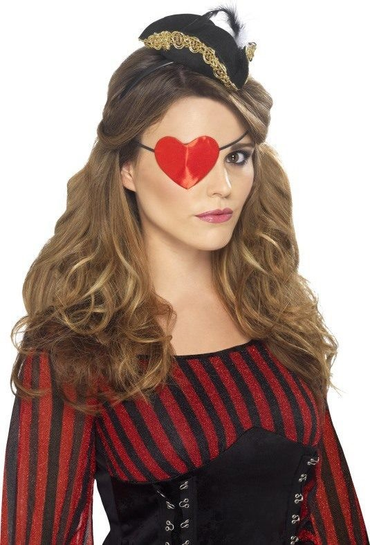 Ladies Pirate Heart Shaped Eyepatch Disguises - (Red)