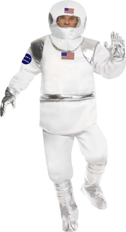 Mens Spaceman Costume Sci-Fi Outfit (White)