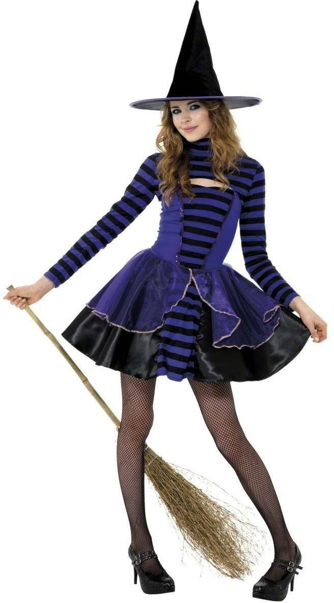 Teen Stripe Dark Fairy , Purple And Black Fancy Dress Costume