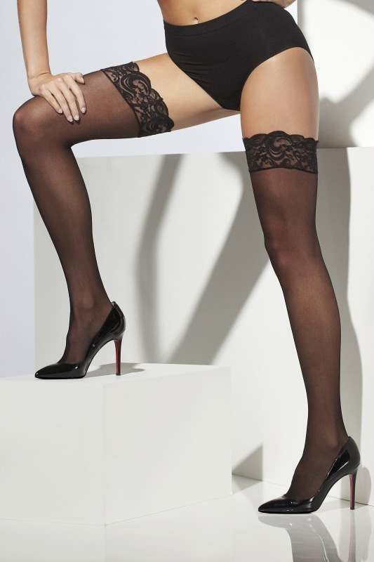 Ladies Sheer Hold-Ups Tights - (Black)