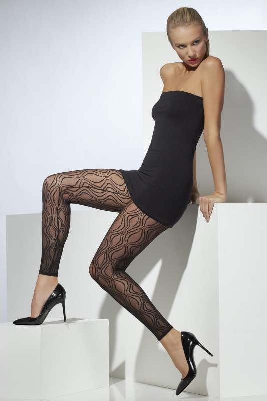 Ladies Sheer Footless Tights Tights - (Black)