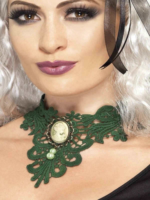 Ladies Femme Fatale Gothic Lace Choker Halloween Jewellery - (Green)