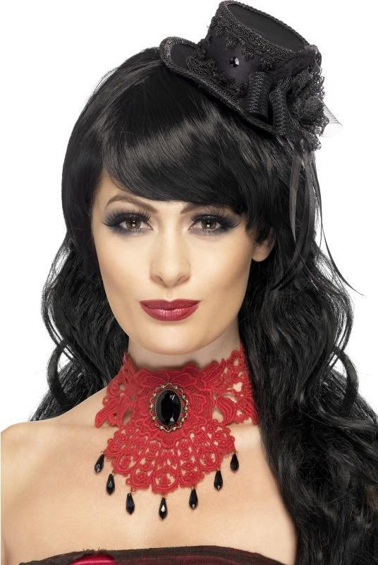 Ladies Gothic Vamp Lace Choker Halloween Jewellery - (Red)