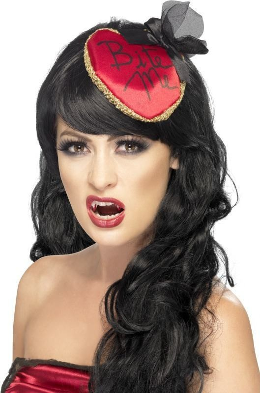 Ladies Bite Me Fascinator Halloween Hats - (Red)