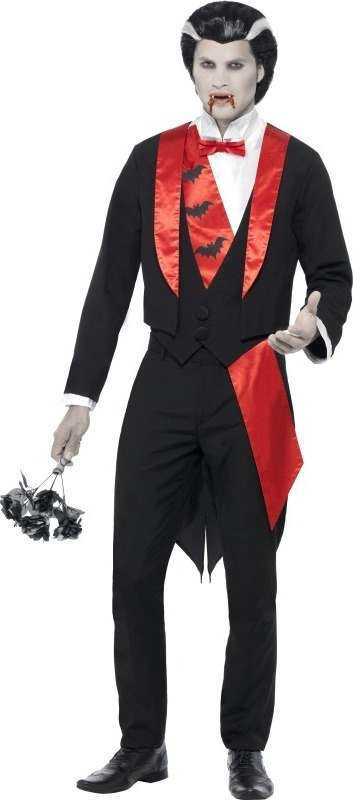 Mens Vampire Leading Man Costume Halloween Outfit (Black)
