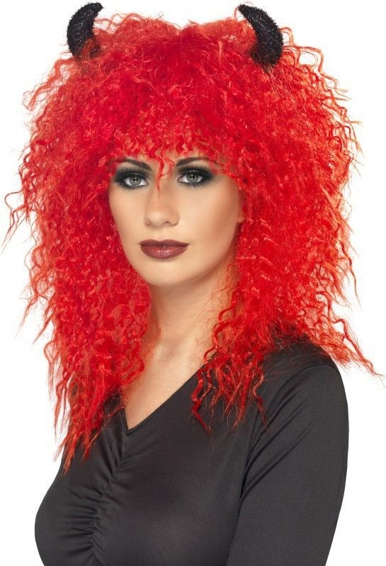 Ladies Inferno Wig Halloween Wigs - (Red)