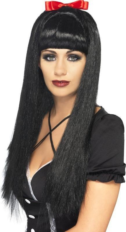Ladies Gothic Prefect Wig Halloween Wigs - (Black)