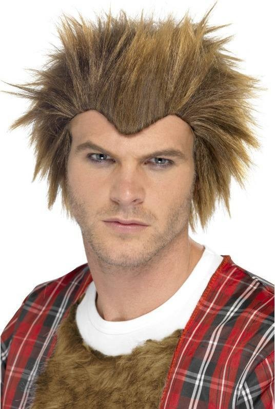 Mens Wolfie Wig Halloween - (Brown)