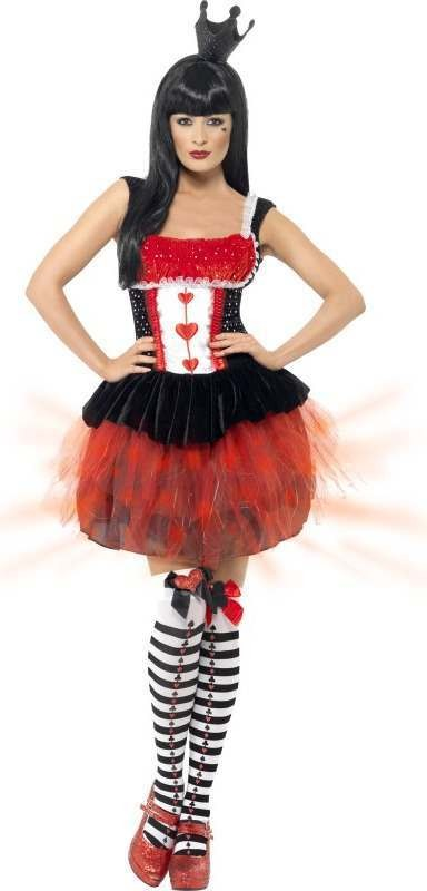 Ladies Light Up Queen Of Hearts Costume Fairy Tales Outfit (Black)