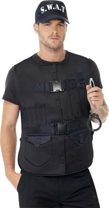 Mens Swat Man Instant Kit Cops/Robbers Outfit (Black)