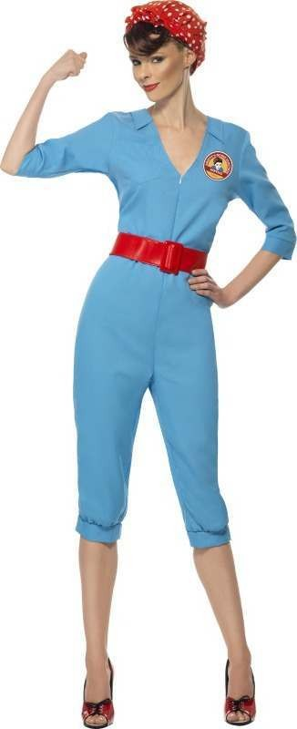 Ladies 1940S Factory Girl Costume 1940'S Outfit (Blue)
