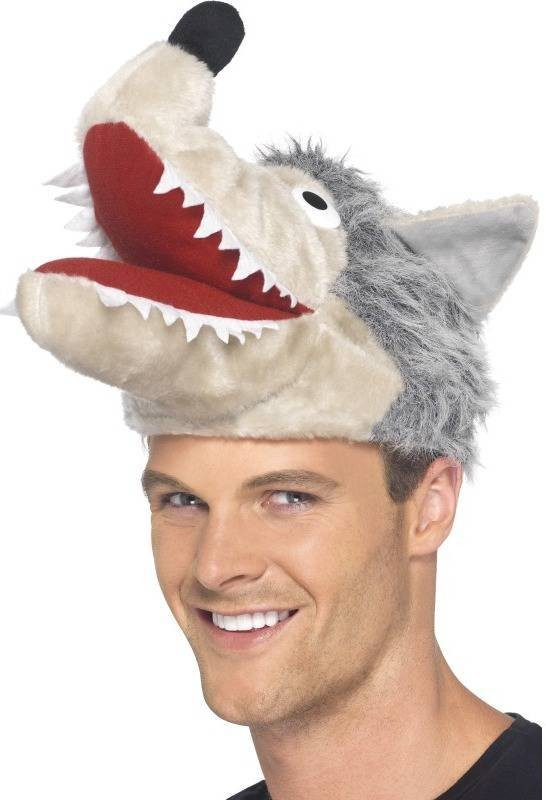 Mens Wolf Hat Hats - (Grey)