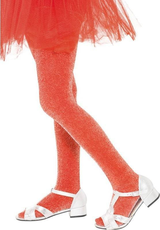Girls Tights Red With Silver Sparkle Tights