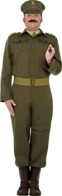 Mens Ww2 Home Guard Captain Costume Army Outfit (Beige)