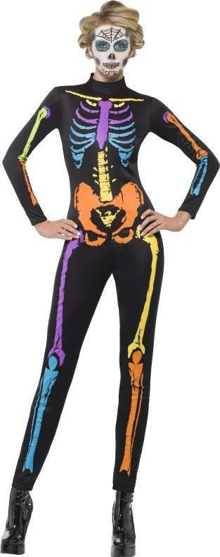 Ladies Neon Skeleton Costume Halloween Outfit (Black)