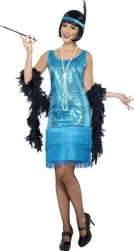 Ladies Flirty Flapper Costume 1920'S Outfit (Teal, Blue)