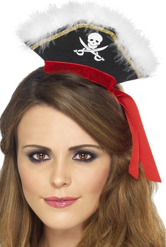 Ladies Mock Pirate Hat On Headband Hats - (Black)