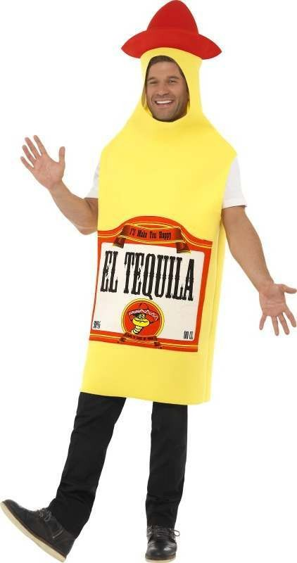 Adult Unisex Tequila Bottle Costume Party Outfit - One Size (Yellow)