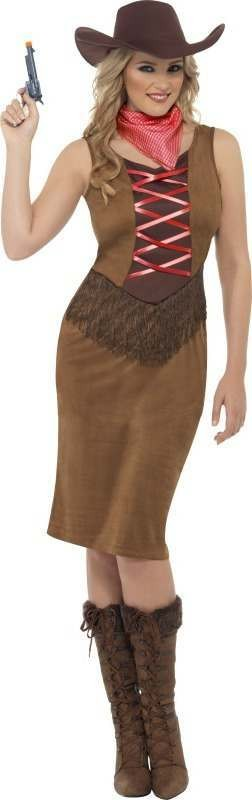 Ladies Fringe Cowgirl Costume Cowboys/Native Americans Outfit (Brown)