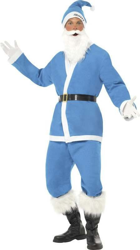 Mens Supporters Santa Costume Christmas Outfit (Blue)