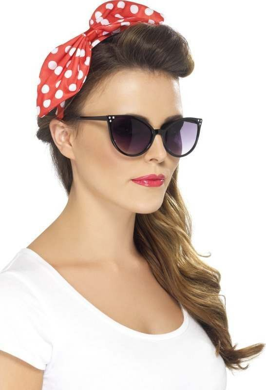 Ladies Polka Dot Pin Up Bow - (Red,White)