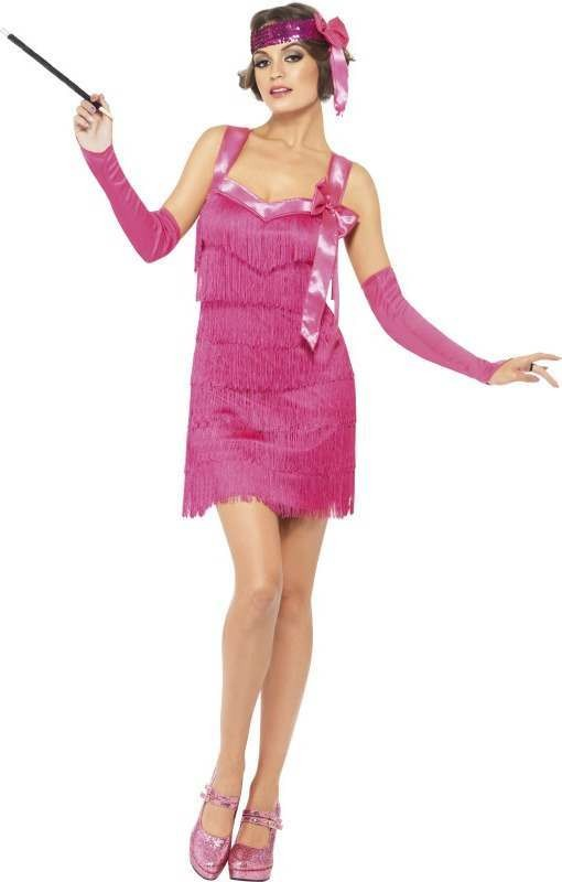 Ladies Fever Flapper Hotty Costume 1920'S Outfit (Pink)