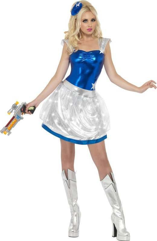 Ladies Fever Sci-Fi Light Up Costume Sci-Fi Outfit (Blue)