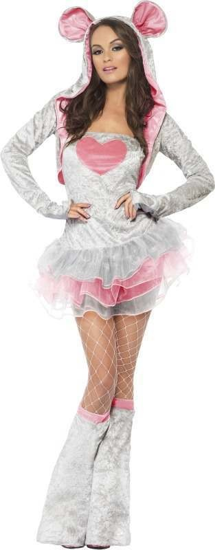 Ladies Fever Mouse Costume Animal Outfit (Grey)