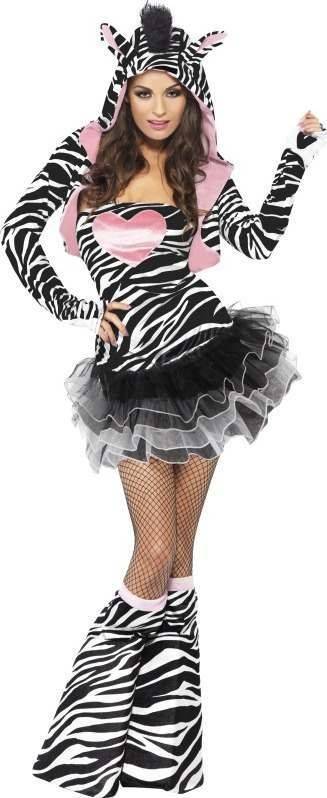 Ladies Fever Zebra Costume Animal Outfit (White)