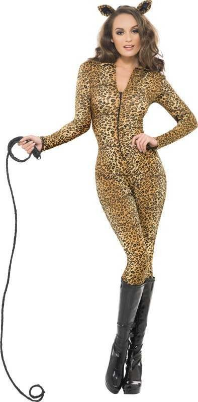 Ladies Fever Leopard Print Whiplash Costume Animal Outfit