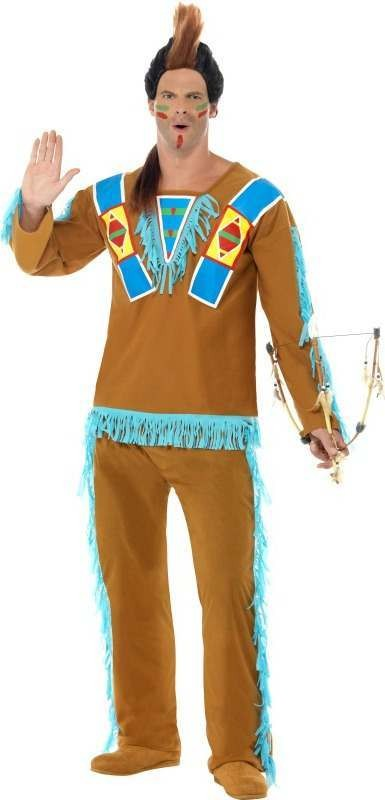 Mens Native American Warrior Costume Cowboys/Native Americans Outfit (Brown)