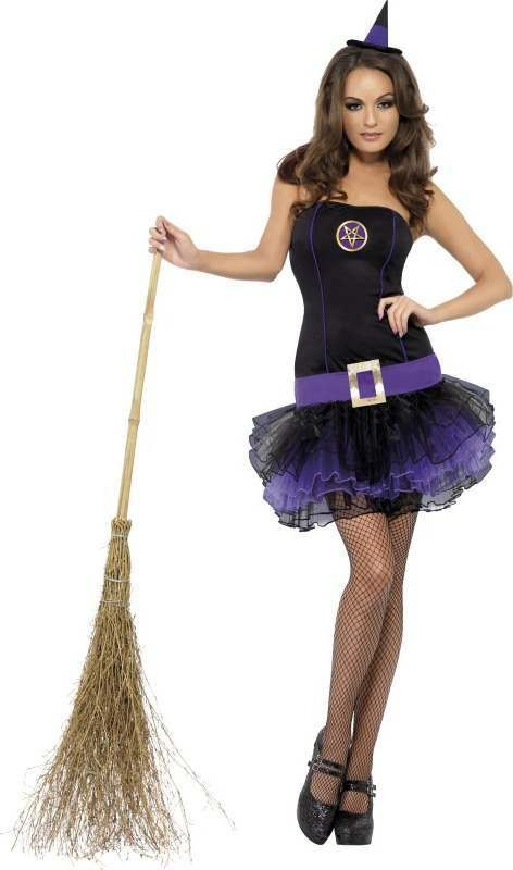 Ladies Fever Tutu Witch Costume Halloween Outfit (Purple)