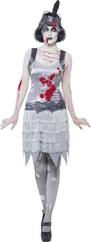 Ladies Zombie Flapper Dress Costume Halloween Outfit (Grey)