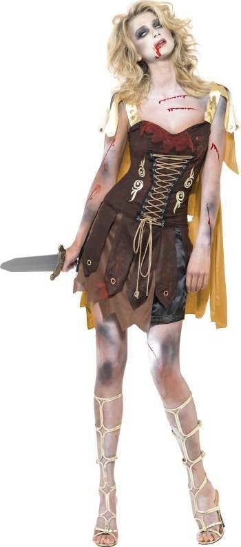 Ladies Fever Zombie Gladiator Costume Halloween Outfit