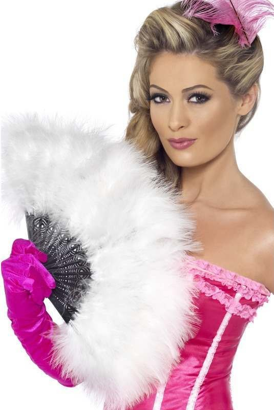 Ladies Marabou Fan - (White)