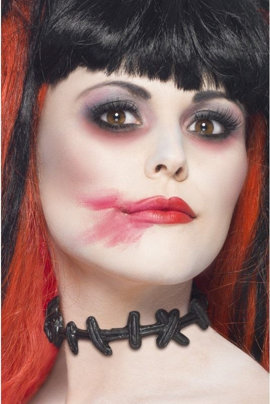 Adult Unisex Stitched Up Choker Halloween Disguises - (Black)
