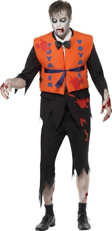 Mens Lost At Sea Zombie Lifejacket Male Halloween Outfit (Black)