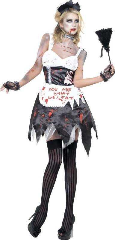 Ladies Fever Zombie French Maid Costume Halloween Outfit