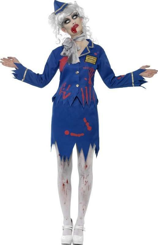 Ladies Zombie Air Hostess Costume Halloween Outfit (Blue)