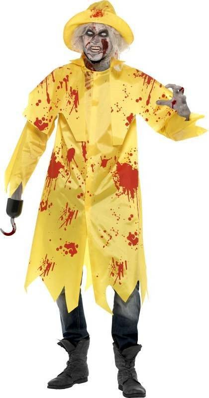 Mens Zombie Sou'Wester Costume Halloween Outfit (Yellow)