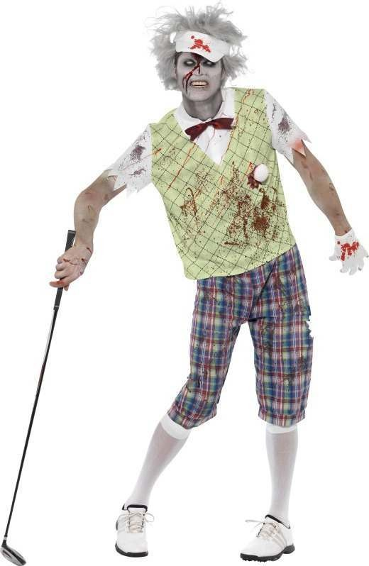 Mens Zombie Golfer Costume Halloween Outfit