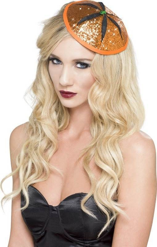 Ladies Pumpkin Fascinator Hats - (Orange)