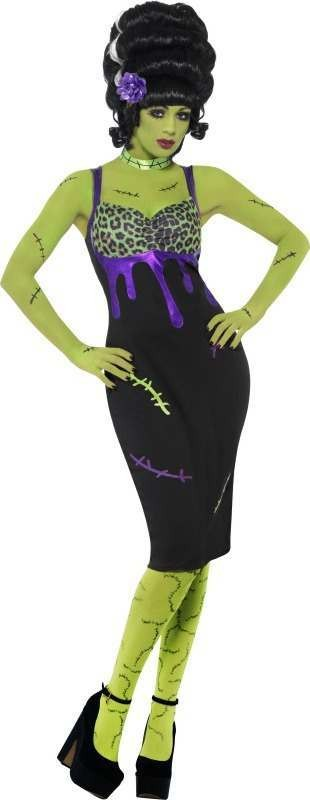 Ladies Pin Up Frankie Costume Halloween Outfit (Black)