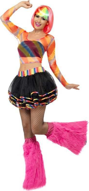 Ladies Rainbow Raver Kit Hippy Outfit (Multicolour)