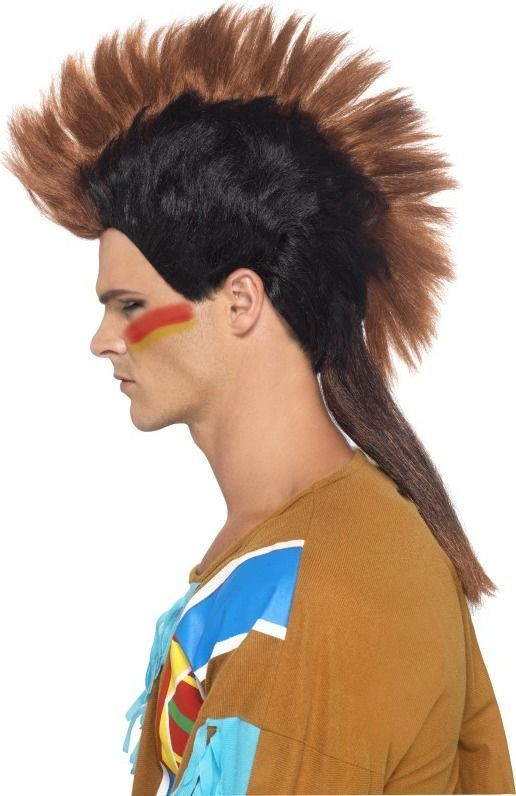 Mens Native American Male Mohican Wig Wigs - (Brown)