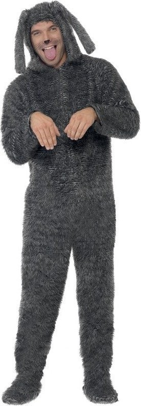 Mens Fluffy Dog Costume Animal Outfit (Grey)