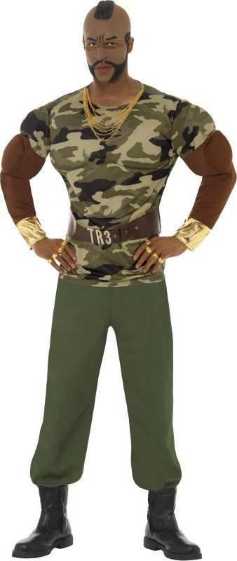 Mens Mr T Premium Costume Tv Outfit (Camo )